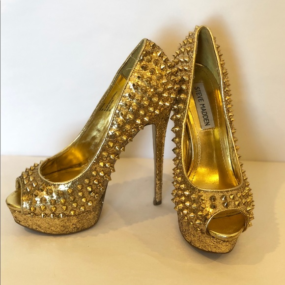 f7169af6581 Steve Madden Gold Stud Peep Toe Stilettos